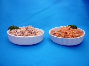 Red and Pink Canned Salmon in Bowls
