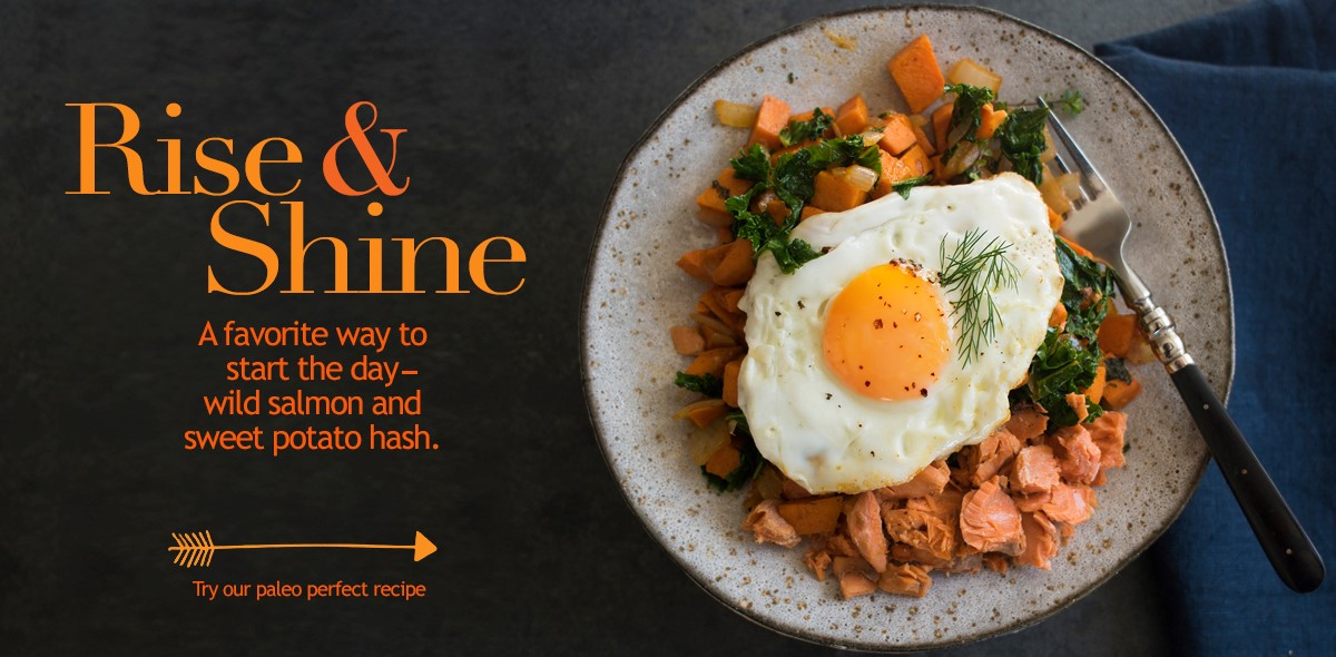 A favorite way to start the day. Wild Salmon and sweet potato hash.