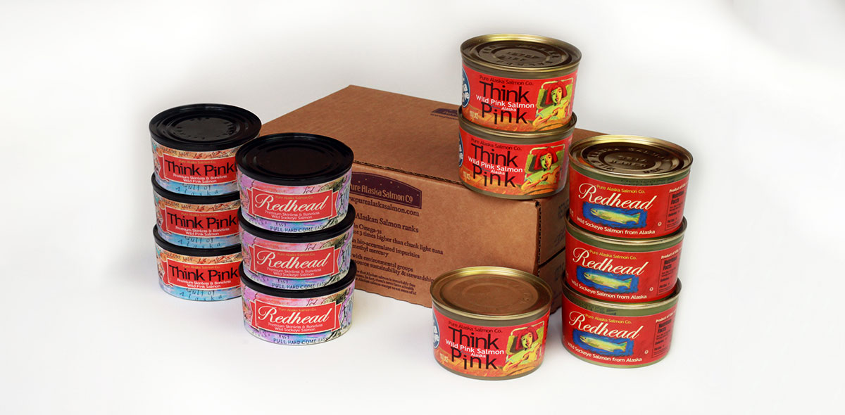 Assorted cans of Pure Alaska Canned Salmon